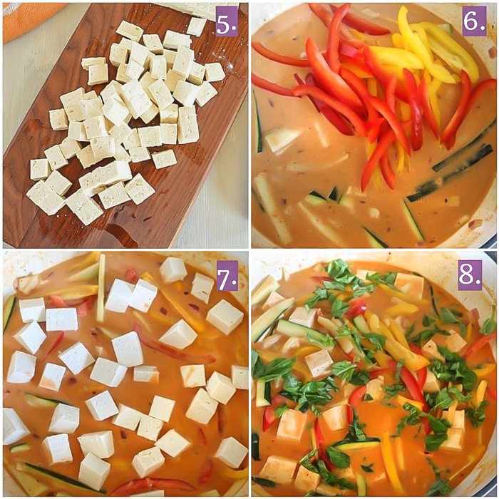 Cooking of vegetables with tofu