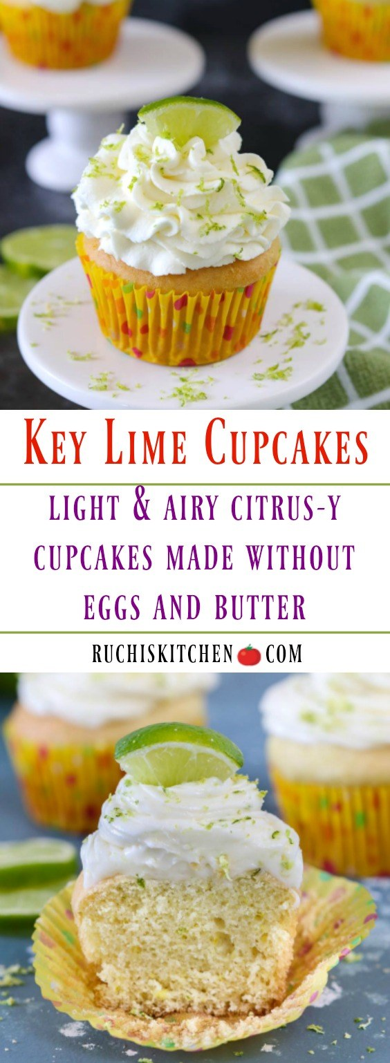Eggless Key Lime Cupcakes