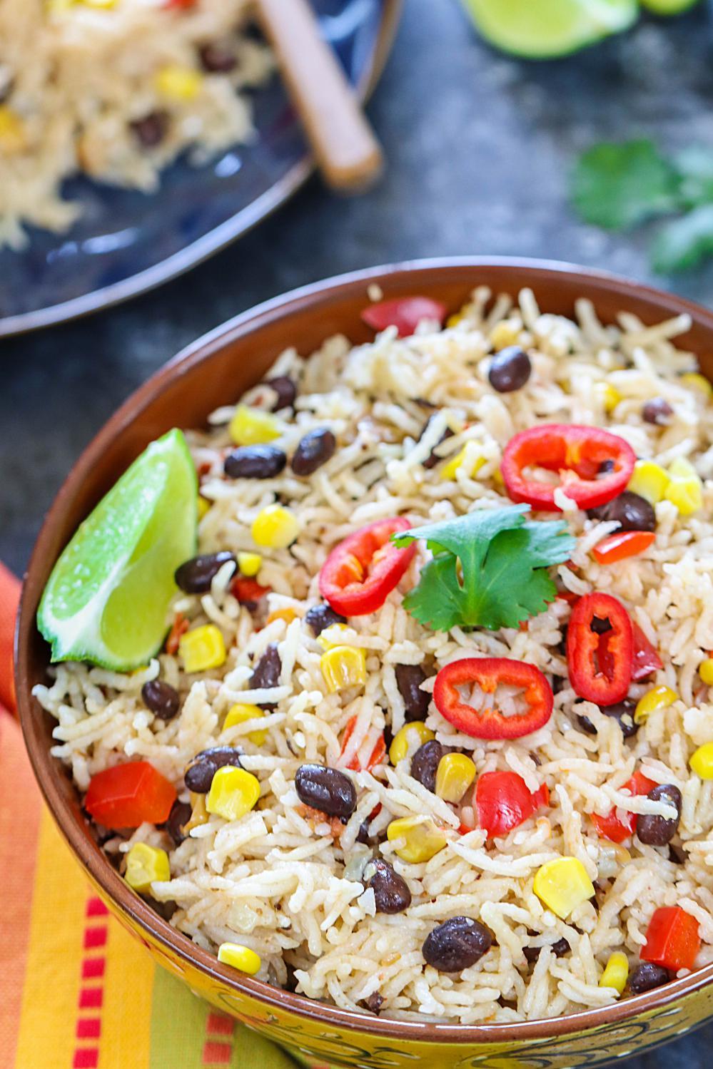Instant Pot Fiesta Rice | Ruchiskitchen.com