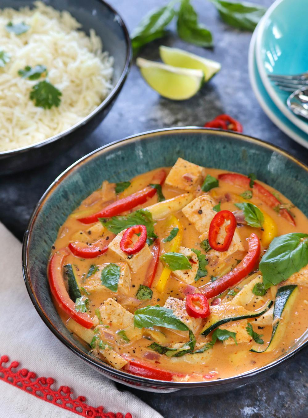 Vegan Thai Red Curry With Tofu And Vegetables | Ruchiskitchen