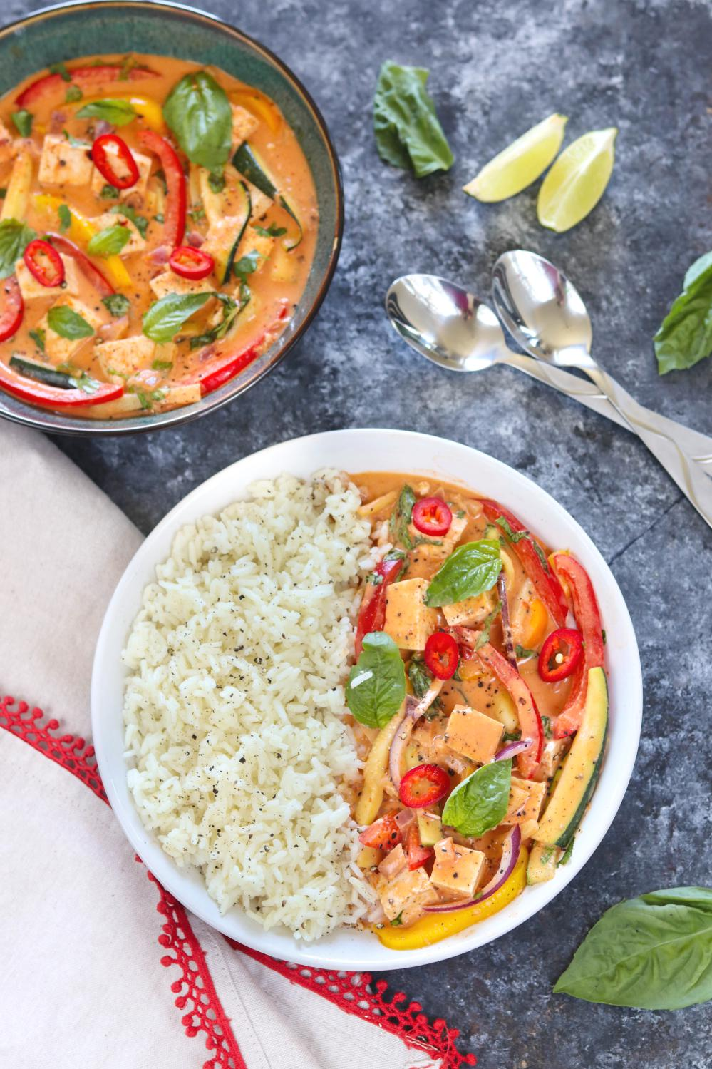 Gluten-free and Vegan Thai Red Curry With Tofu And Vegetables | Ruchiskitchen
