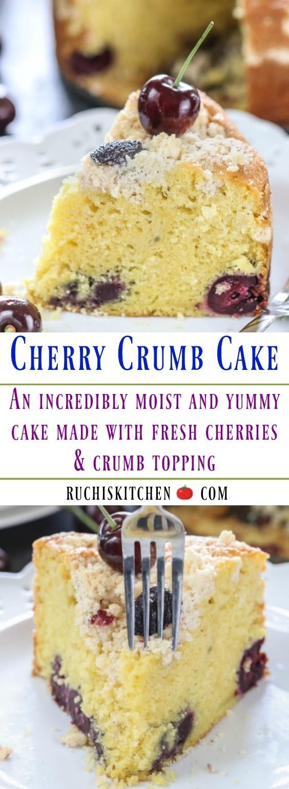 Cherry Crumb Cake - Ruchiskitchen