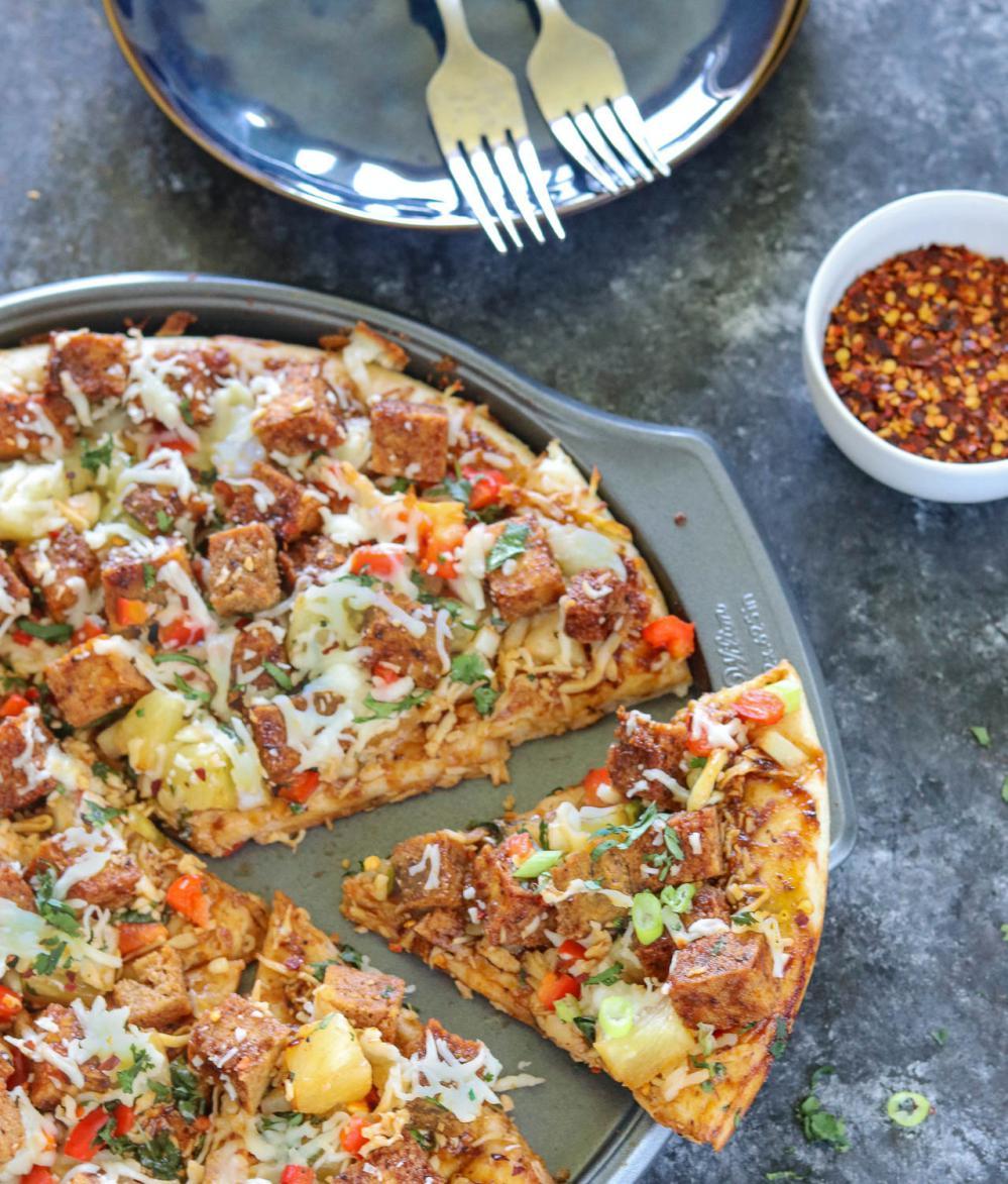Homemade Jerk Tofu Pizza - Ruchiskitchen