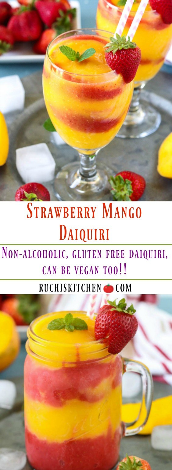 Non Alcoholic Strawberry Mango Daiquiri -Ruchiskitchen