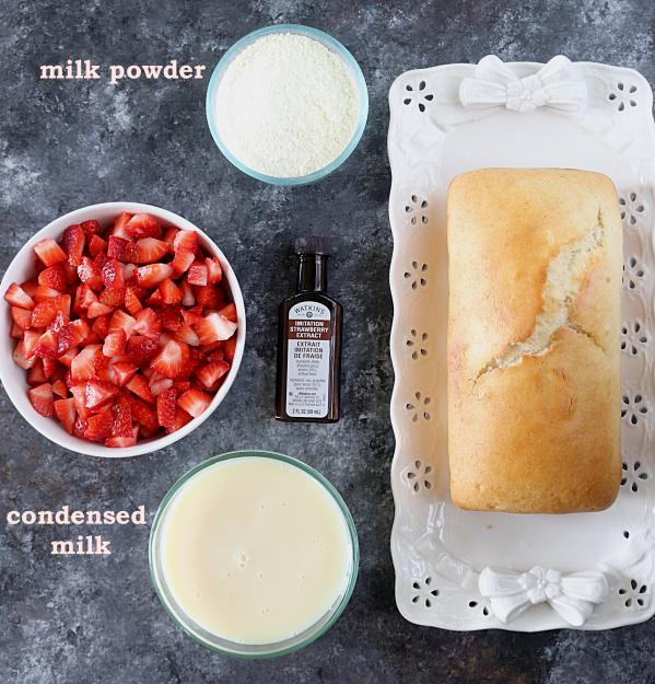 Ingredients for Strawberry Shortcake Ice cream