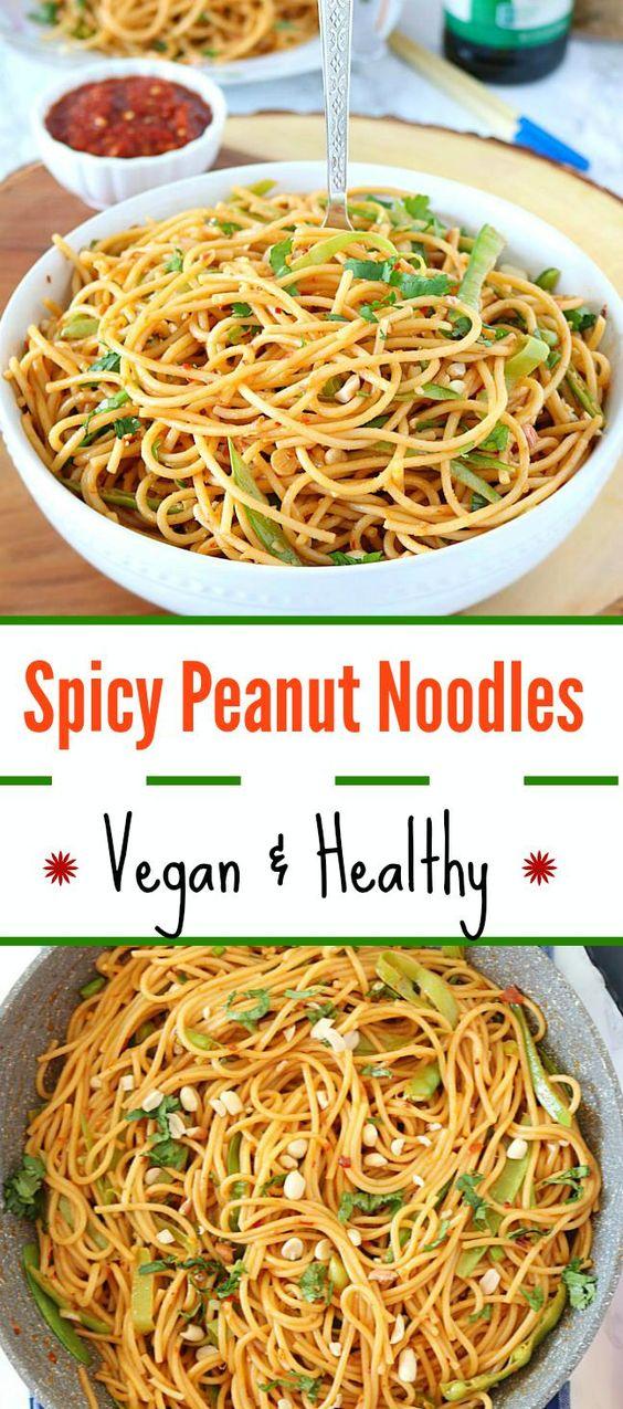 Vegan Thai Peanut Noodles - Ruchiskitchen