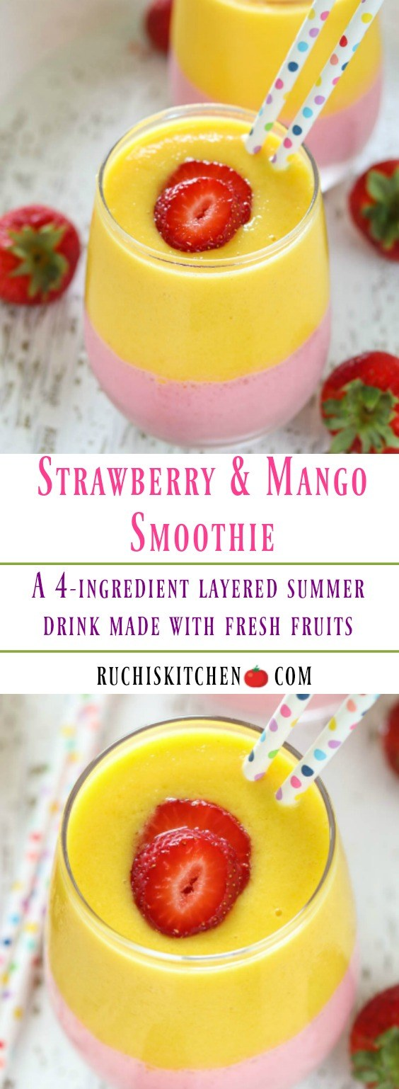 Strawberry and Mango Smoothie - Ruchiskitchen