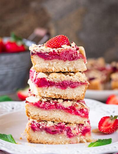 Stacked Vegan Strawberry Crumble Bars