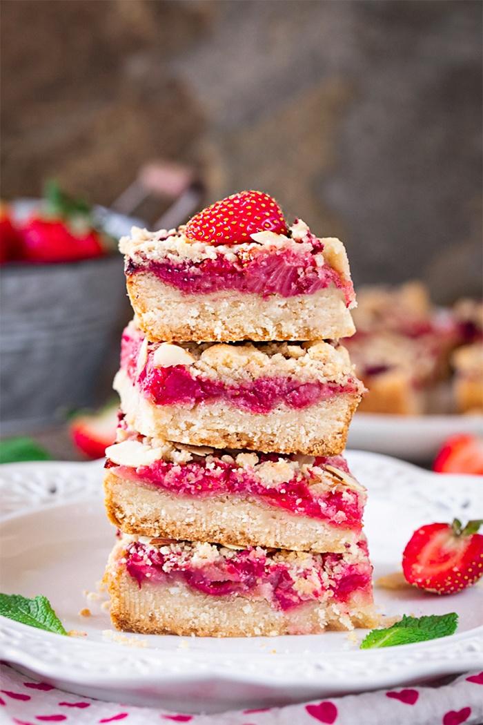 Stacked Vegan Strawberry Crumble Bars