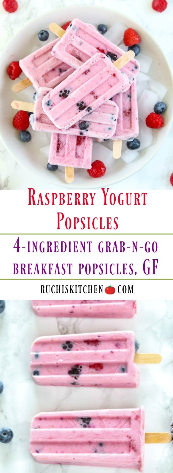 Raspberry Yogurt Popsicles - Ruchiskitchen