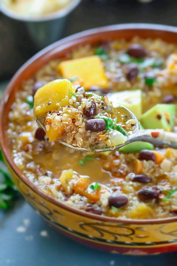 Instant Pot Butternut Squash And Quinoa Stew with  spoon