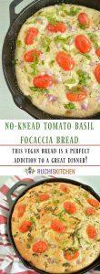 No Knead Tomato Basil Focaccia Bread- Ruchiskitchen