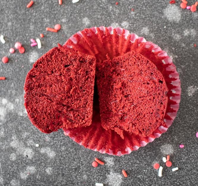 Halved red velvet cupcake