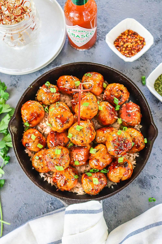 Pan Cooked Honey Orange Chicken Meatballs -Ruchiskitchen