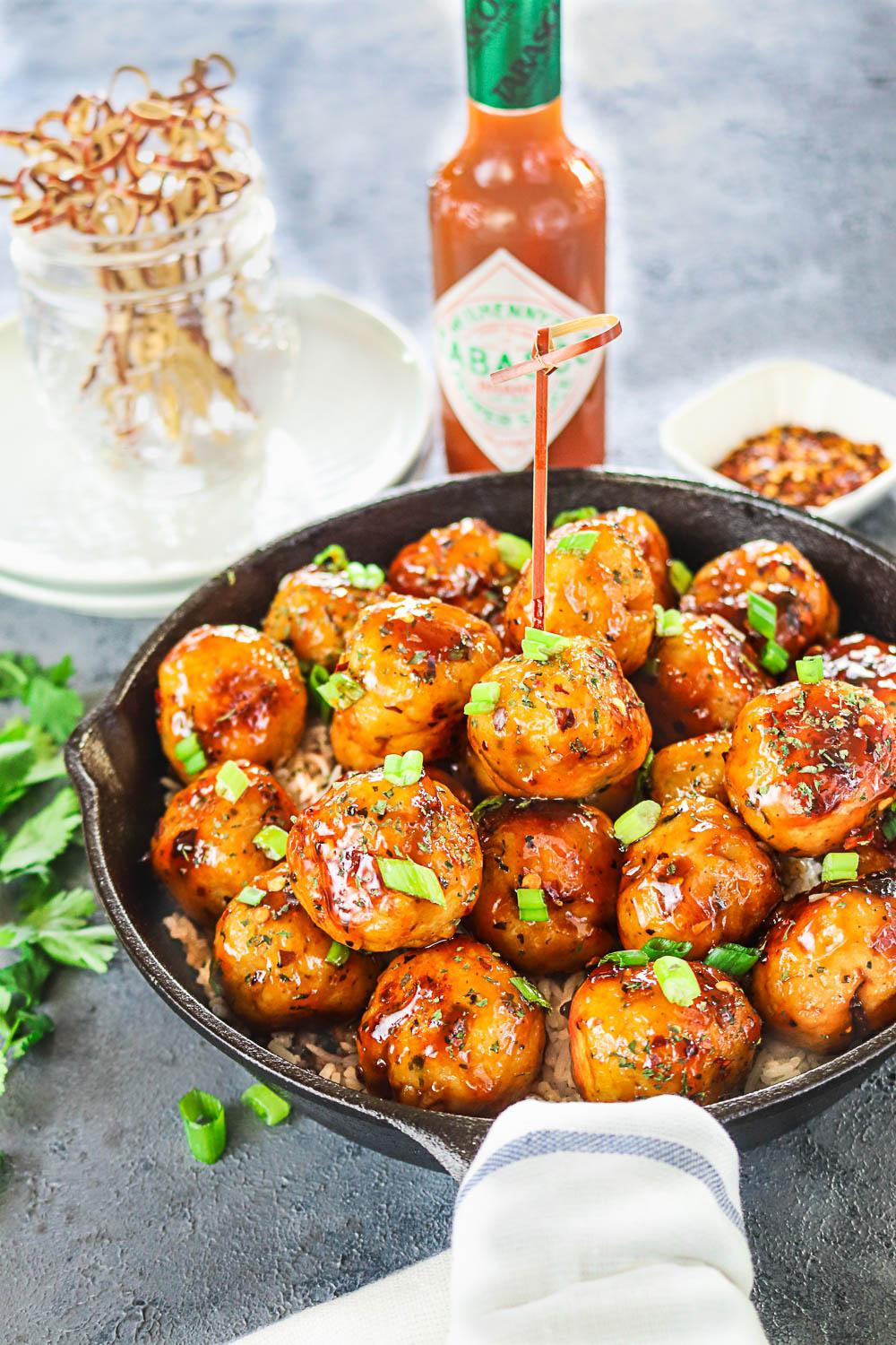 Pan Cooked Honey Orange Chicken Meatballs -Ruchiskitchen