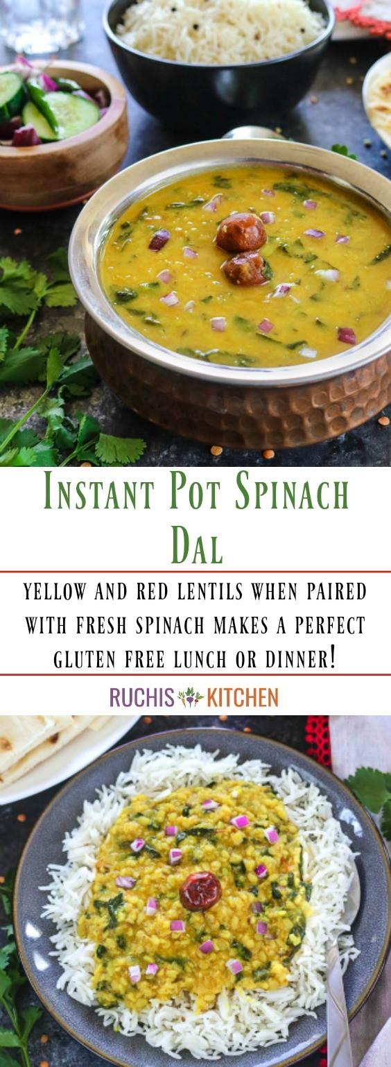 How to make Instant Pot Spinach Dal - Ruchiskitchen