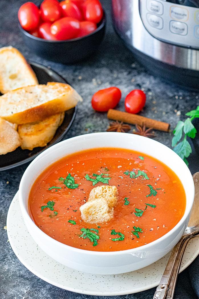 Tomato shorba in a bowl
