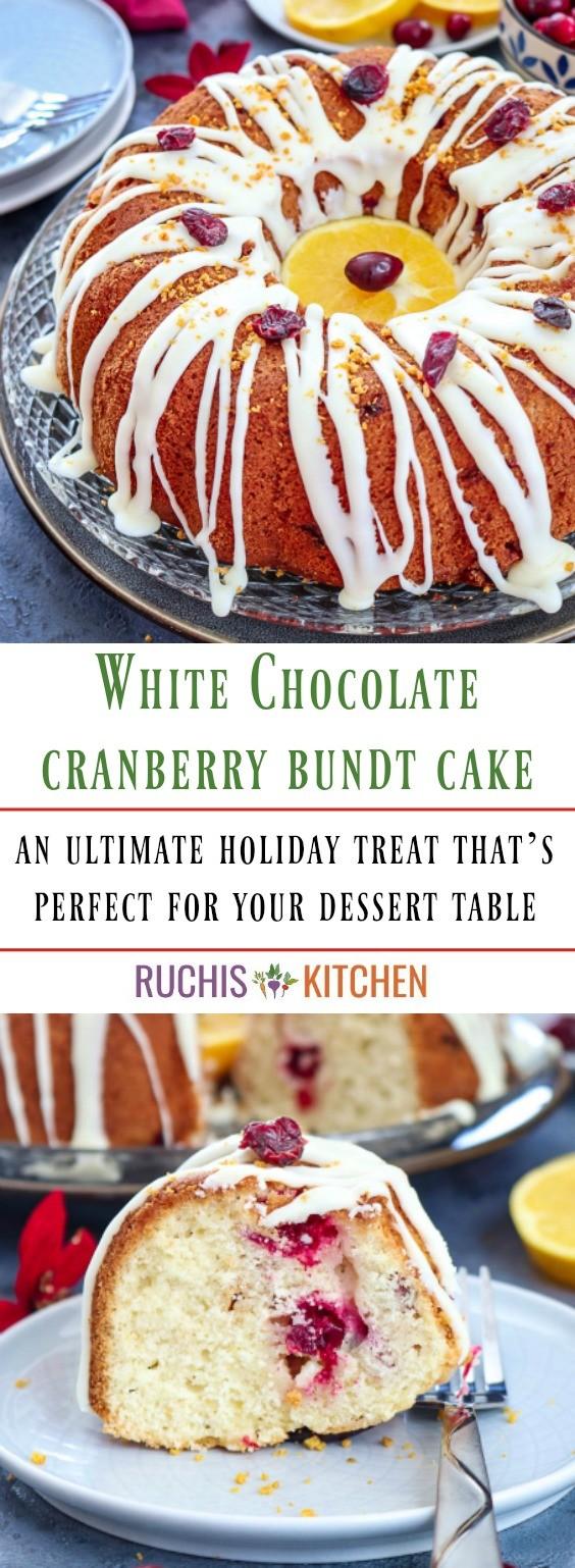White Chocolate Cranberry Bundt Cake - Ruchiskitchen