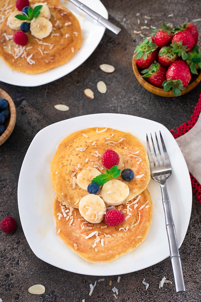 Pancakes on a plate with fruits
