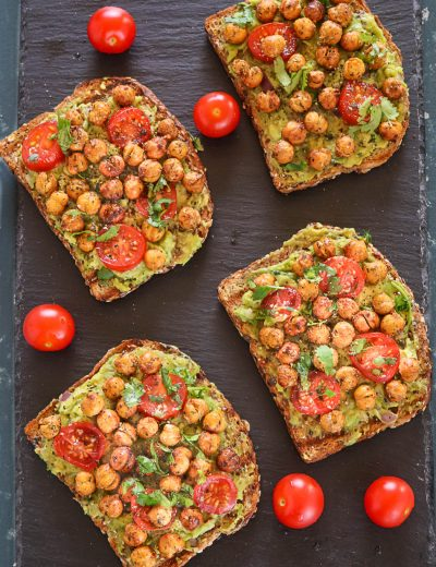 Avocado Toast With Roasted Chickpeas - Ruchiskitchen
