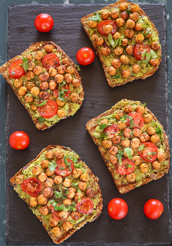 Avocado Toast With Roasted Chickpeas - Ruchiskitchen