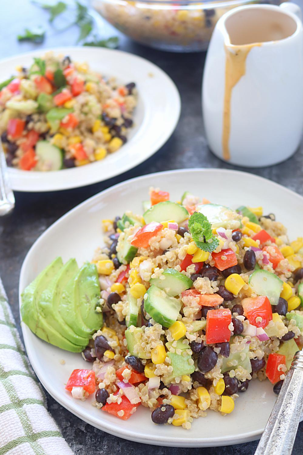 Healthy Quinoa and bean salad - Ruchiskitchen.com