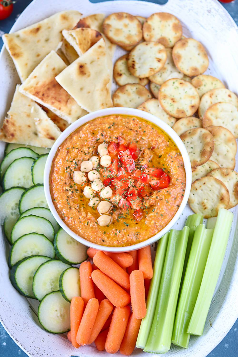 Roasted Red Bell Pepper And Chickpea Hummus Recipe