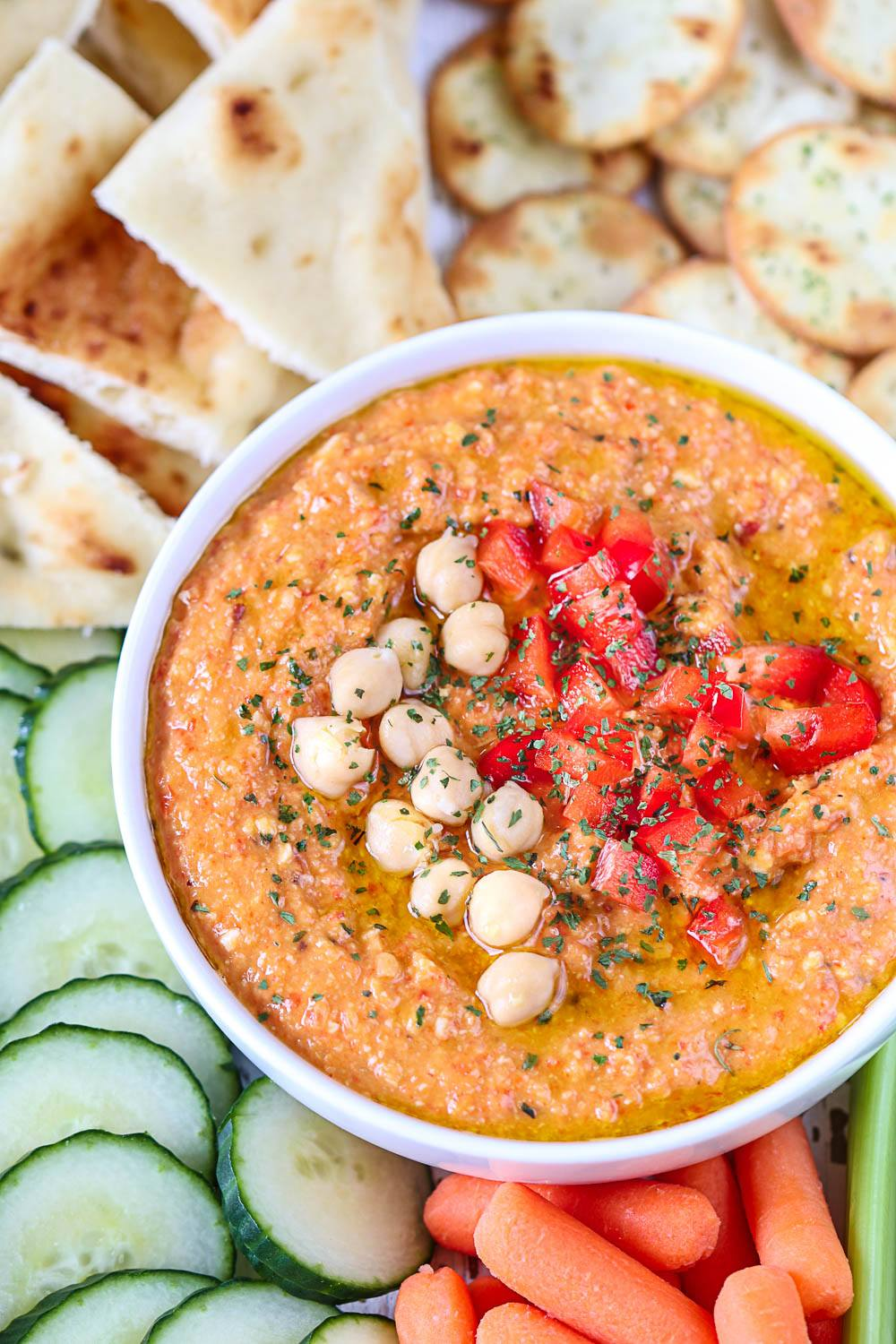 Roasted Red Bell Pepper And Chickpea Hummus Recipe - Ruchiskitchen