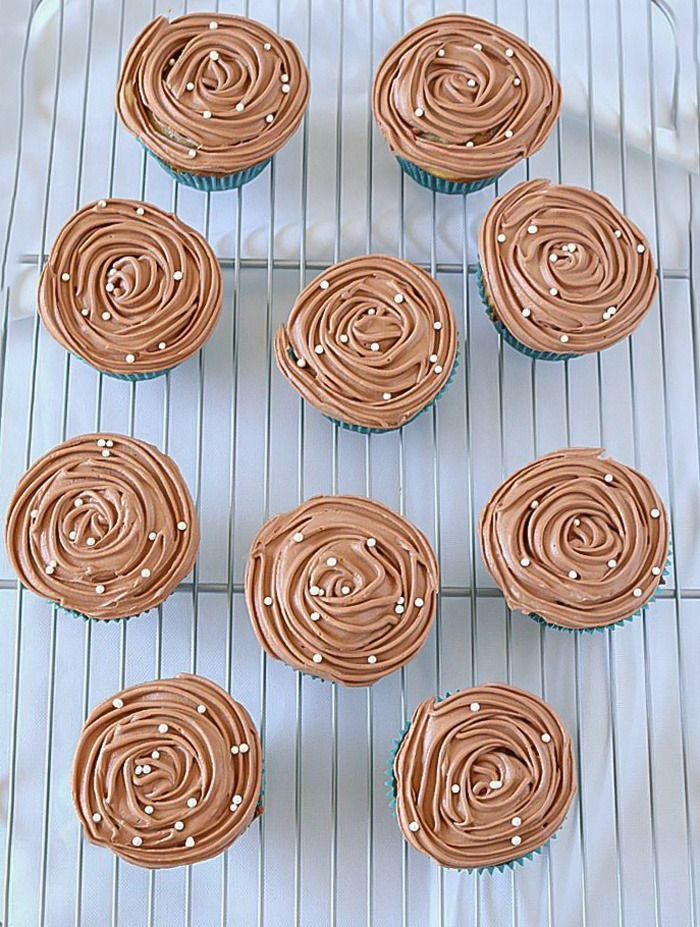 Freshly frosted Eggless Marble Cupcakes