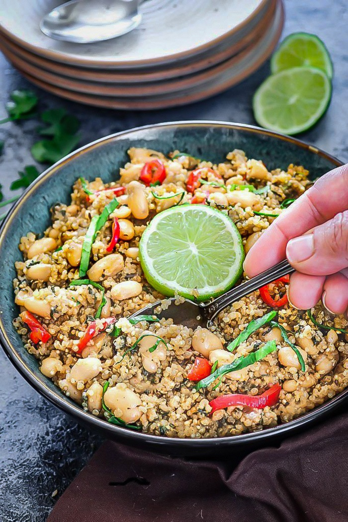 Enjoy curried Coconut Quinoa And White Bean pilaf