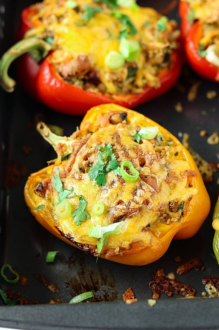 Baked Roasted chickpeas and quinoa stuffed bell peppers
