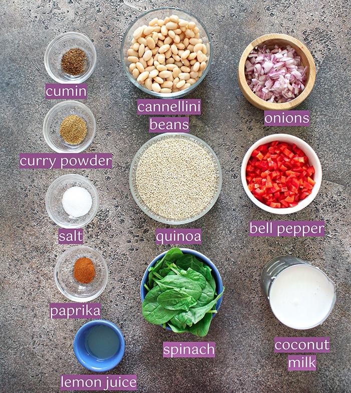 White bean quinoa ingredients