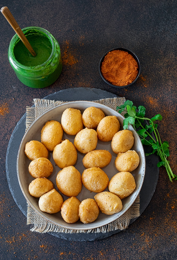 Fried Dahi bhallas on a plate