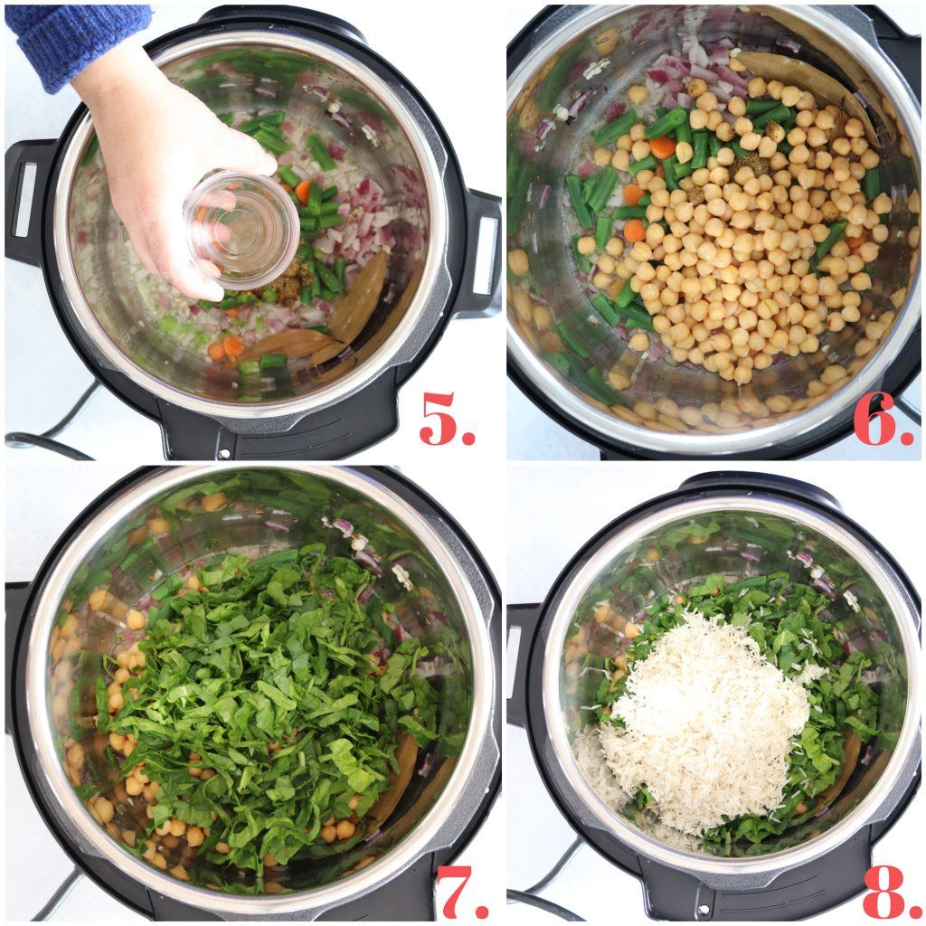 Step by step pictures of making Instant Pot Chickpea and Spinach Pulao
