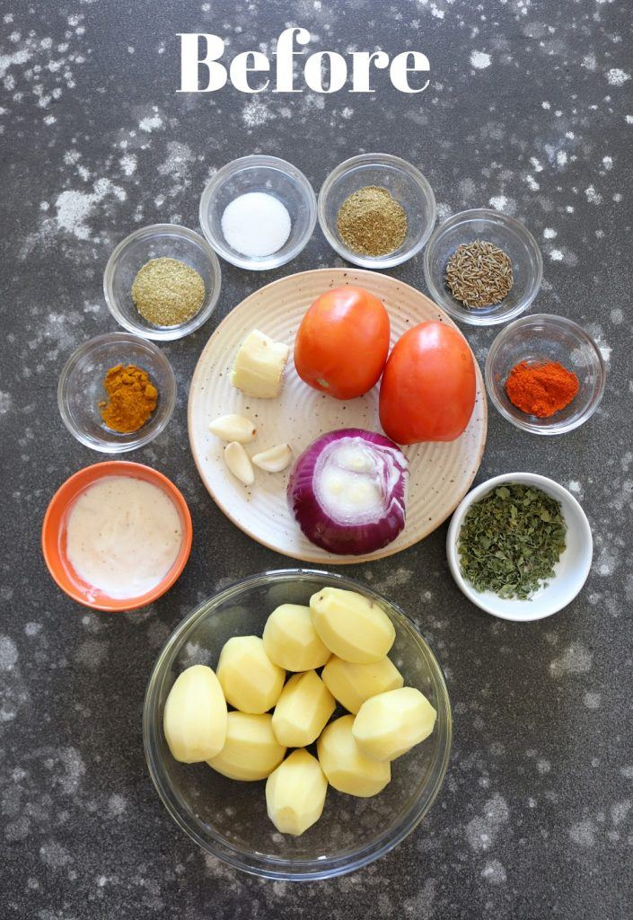 Instant Pot Dum aloo Ingredients Picture - Ruchiskitchen