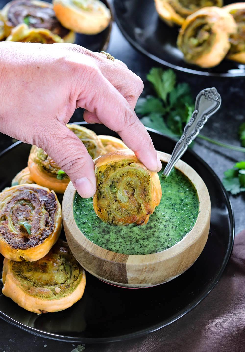 Puff Pastry Samosa Pinwheels dipped in chutney- Ruchiskitchen