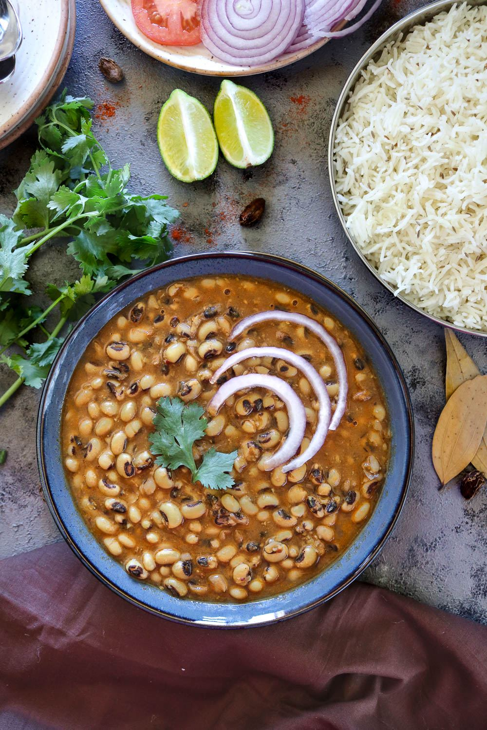 Instant Pot Black Eyed Peas Curry top view - Ruchiskitchen