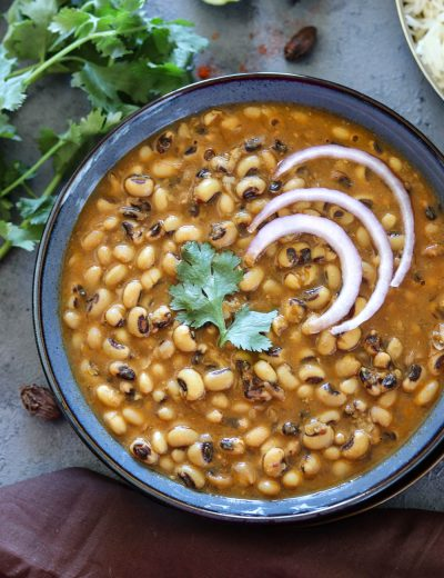Instant Pot Black Eyed Peas Curry close up view- Ruchiskitchen