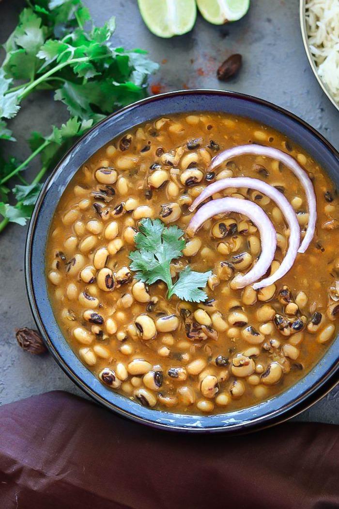Instant Pot Black Eyed Peas Curry close up view- Ruchiskitchen