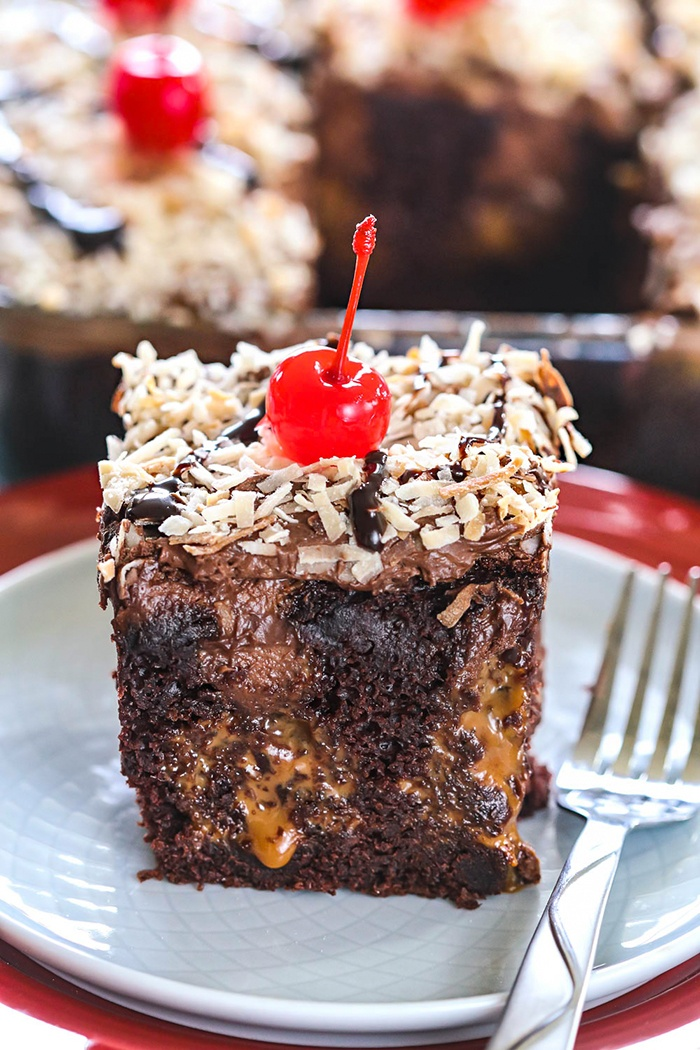 Vegan chocolate poke cake with Dulce-de-leche oozing out