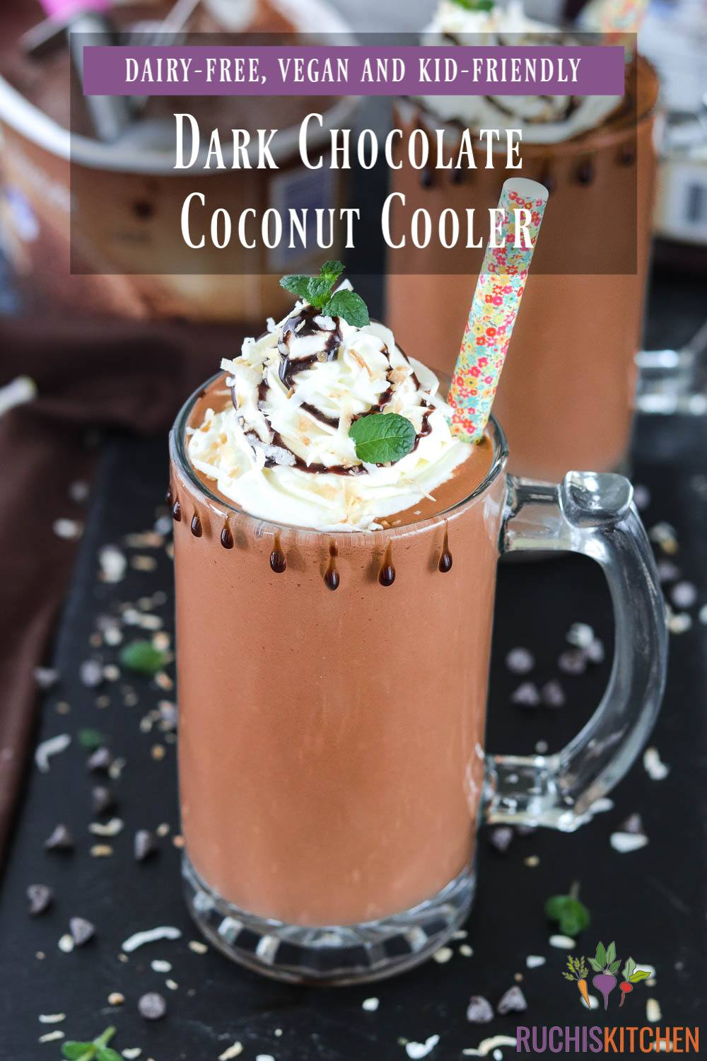 Dark Chocolate Coconut Cooler Collage - Ruchiskitchen