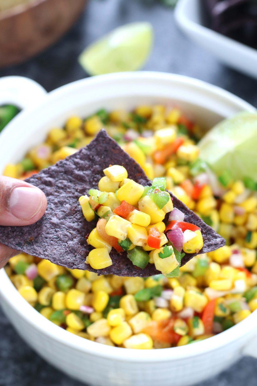 Corn Salad on a chip - Ruchiskitchen