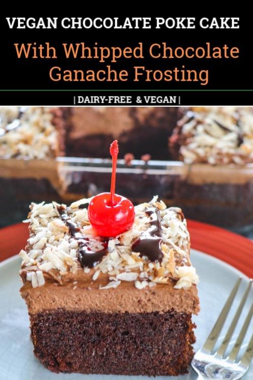 Pinterest Image of Chocolate Poke Cake ( Vegan)