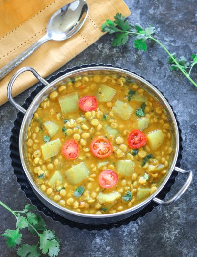 Chana Lauki Dal in a bowl