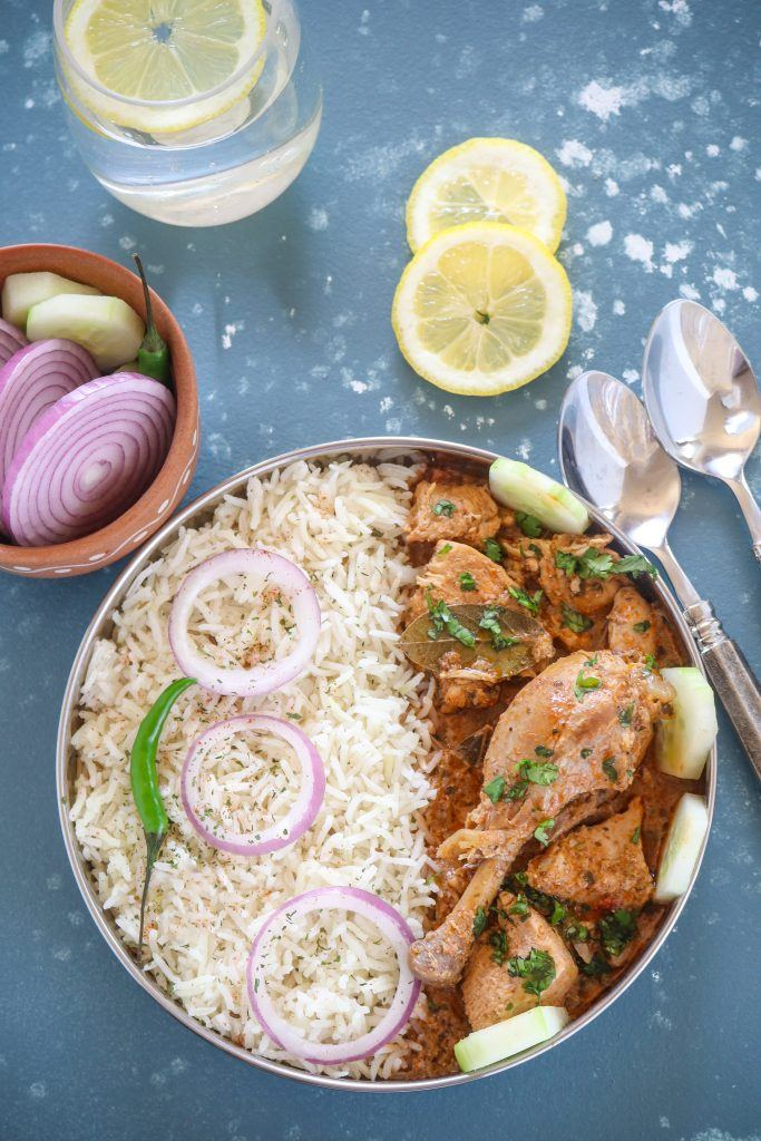 Instant Pot Indian Chicken Curry  served with Rice and Salad