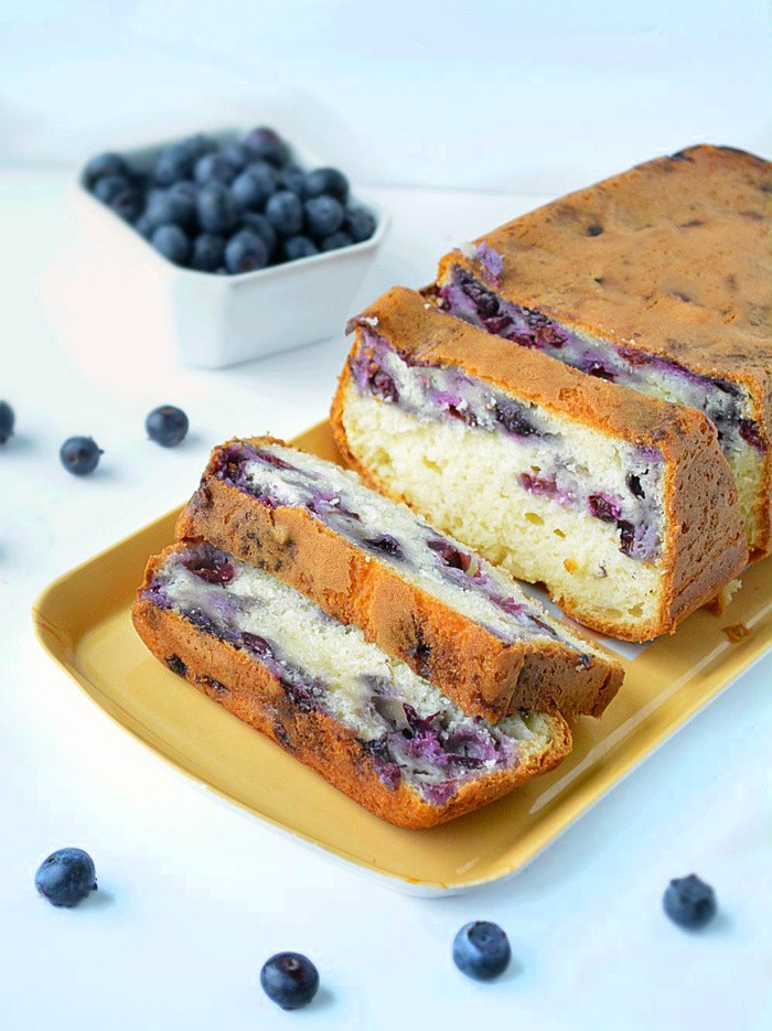 Freshly baked blueberry loaf cake