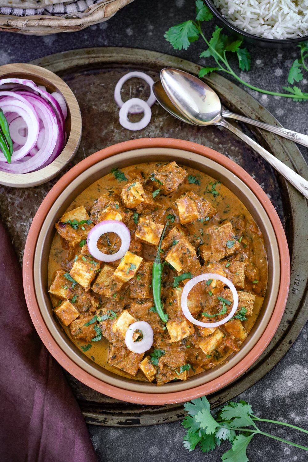 Tawa Paneer in a plate with spoon