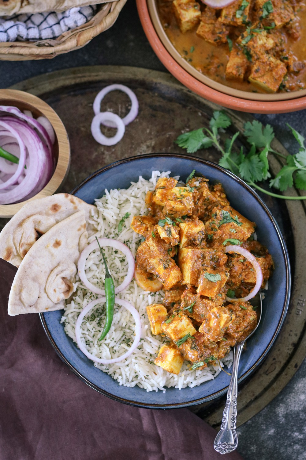 Creamy paneer with rice