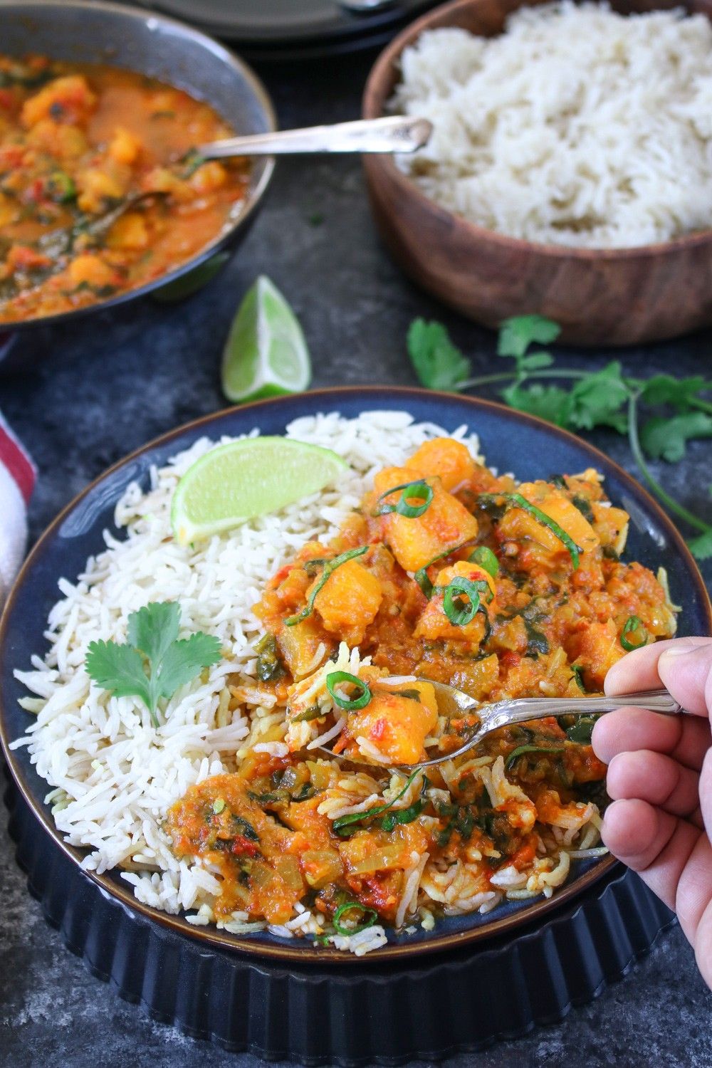 Serve butternut squash curry with cilantro and scallions