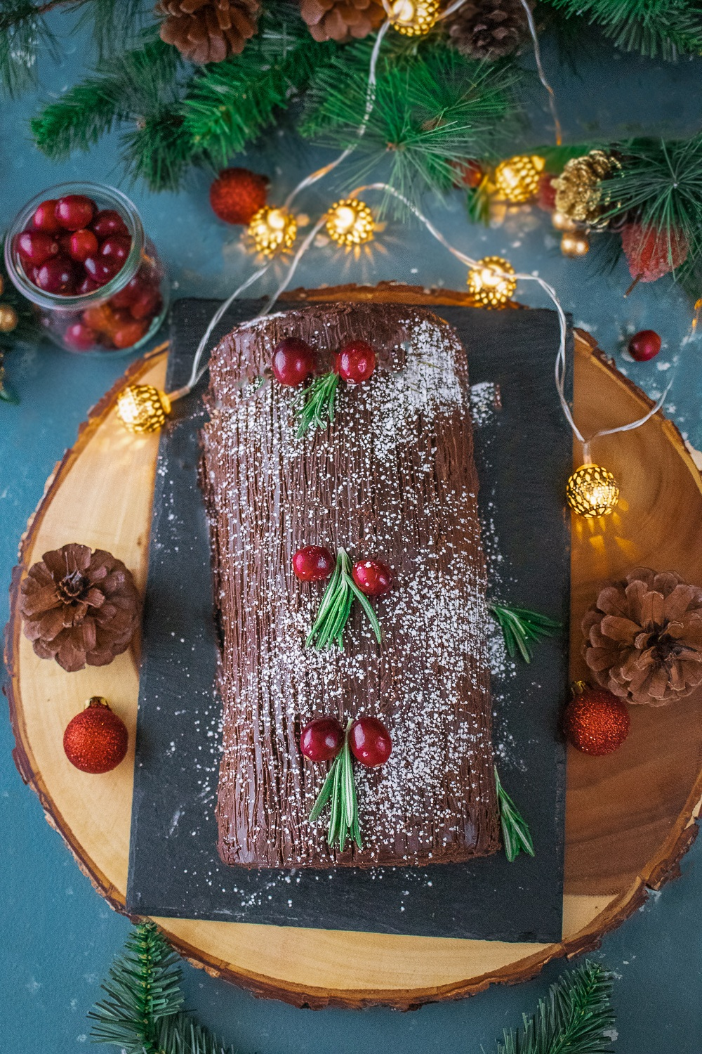 Decorated Yule Log Cake with Chocolate Ganache